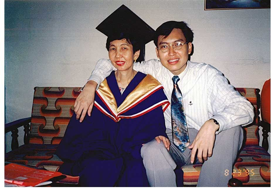 Mr Ng with his late mother